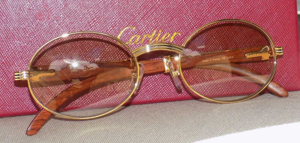 Cartier Smooth Rosewood Buffalo Maroon Cafe Round Brown Lens C Décor Sunglasses