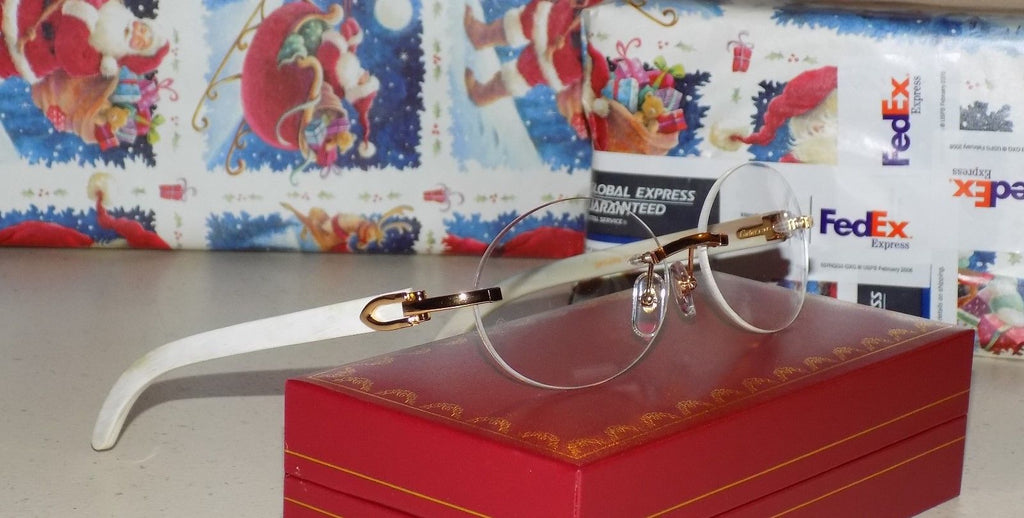 Cartier Smooth White Horn Buffalo Clear Lens C Décor Sunglasses Shabowhita