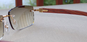 Limited Cartier Smooth Cafe Lens Carved Rosewood Buffalo Sunglasses