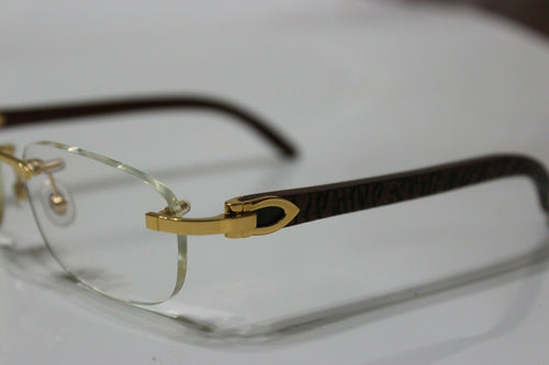 Brand New Authentic Cartier Glasses Gold Zebra Etched Wood
