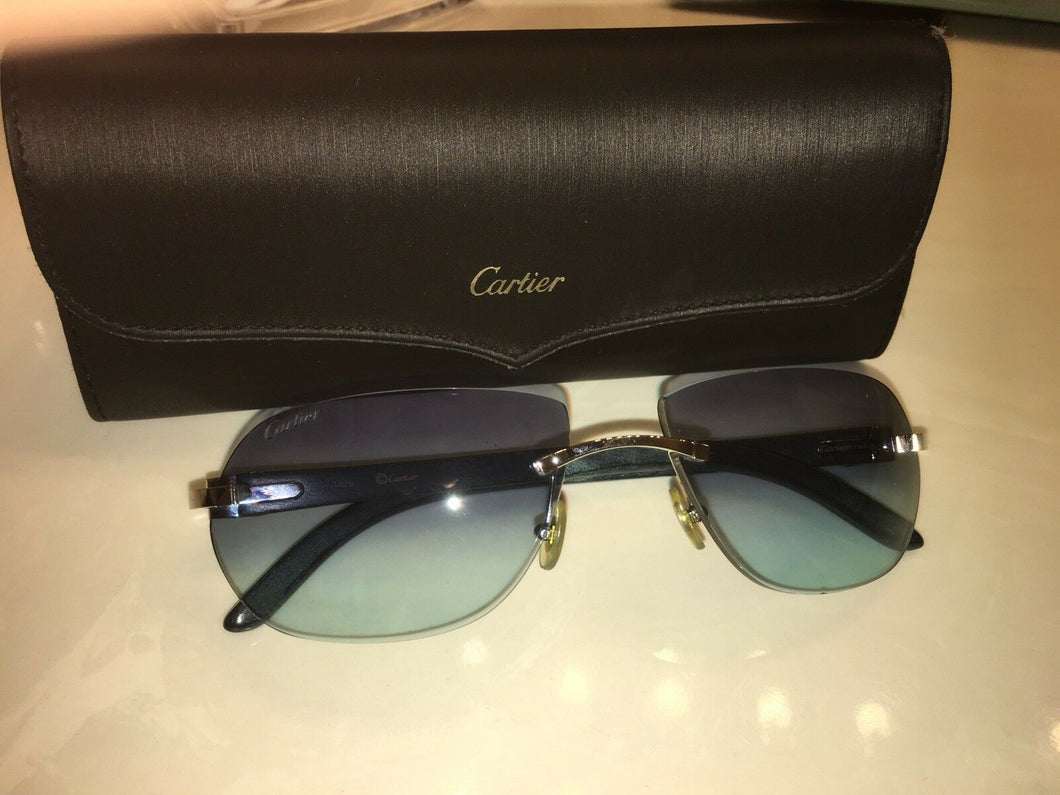 Cartier Rimless Frame with Bubinga Wood Sunglasses Sunglasses 140B Blue