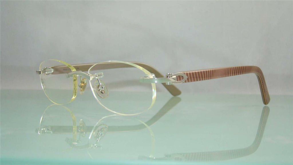 CARTIER T8100855 SIENA Rimless BROWN, BEIGE & SILVER Eyeglasses Frames Size 52