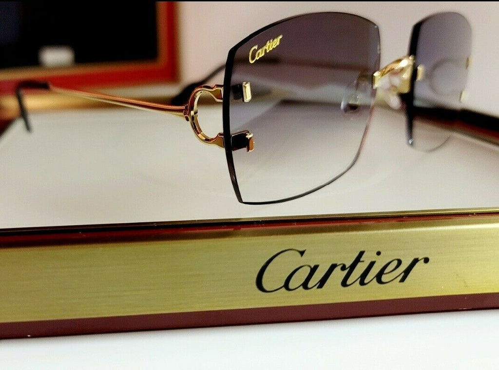 Cartier C Decor Sunglasses Big C New Model 18k Gold With Custom Black Gradient
