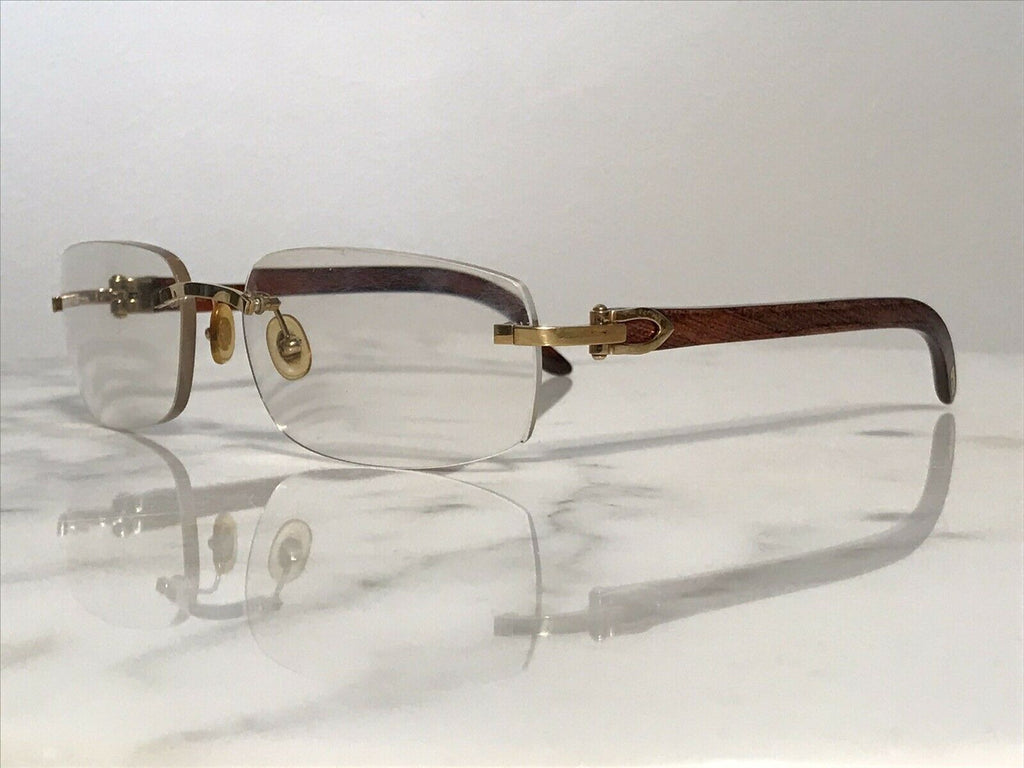 Cartier Rimless Bubinga Wood 18k Wood Glasses Sunglasses Eyeglasses Frames Buffs