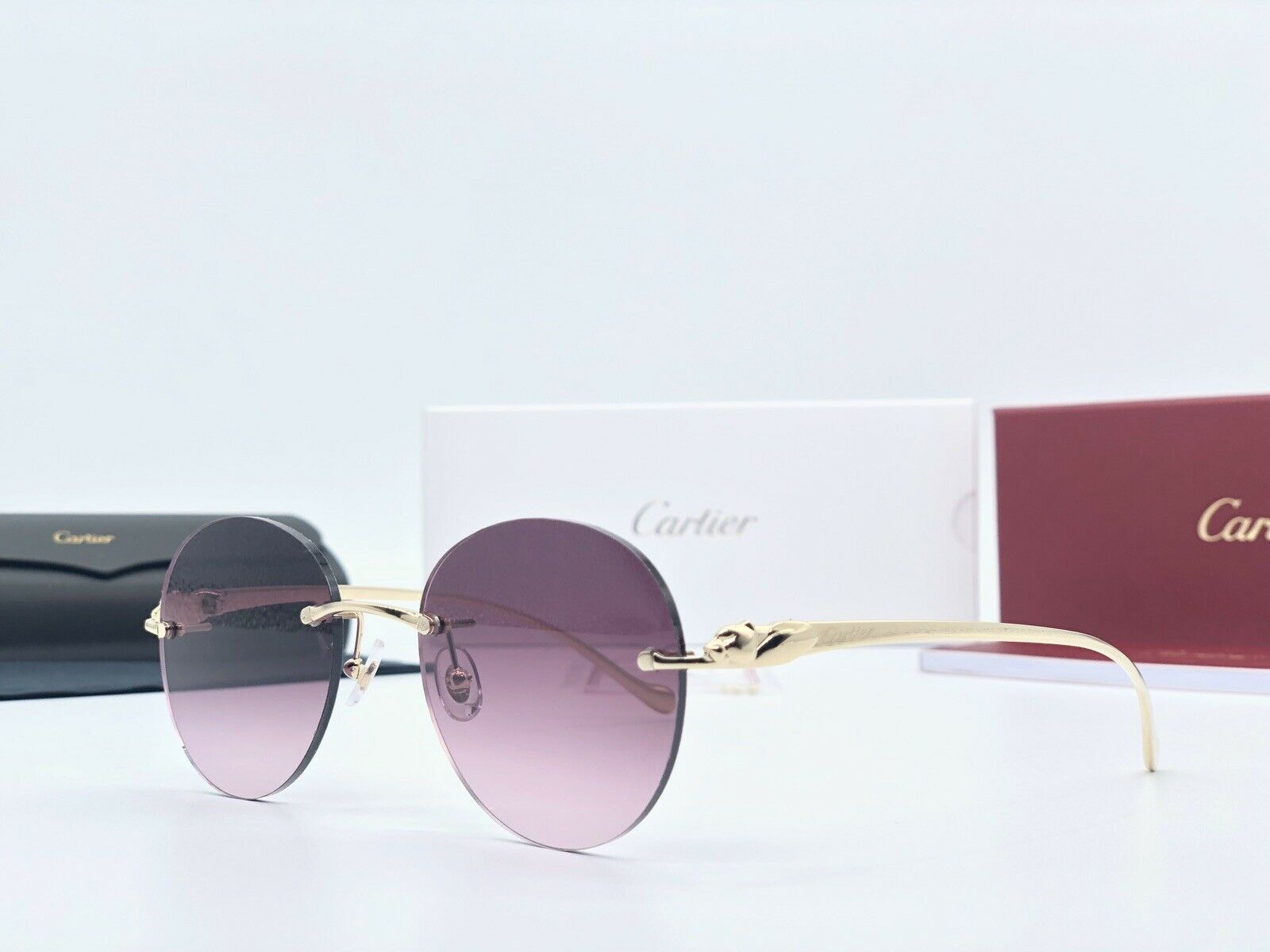 lo último bbcf9 608a7 Sunglasses Cartier Panthere Altaica CT0058O-002 Gold with Round Lenses 100%  Auth
