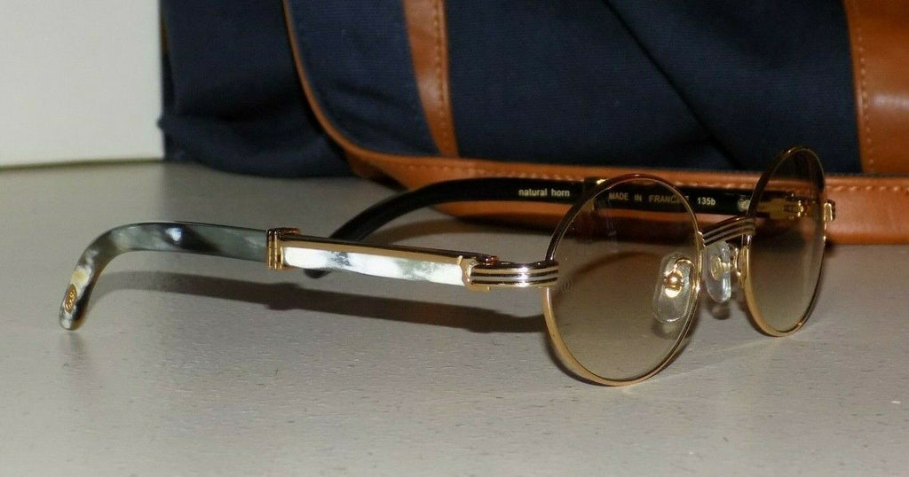 Cartier Smooth Round Mixed Horn Buffalo C Décor Sunglasses SHABOWHITA