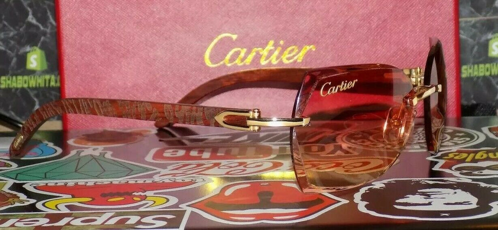 Limited Cartier Smooth Amber Lens Carved Rosewood Buffalo Sunglasses Shabowhita