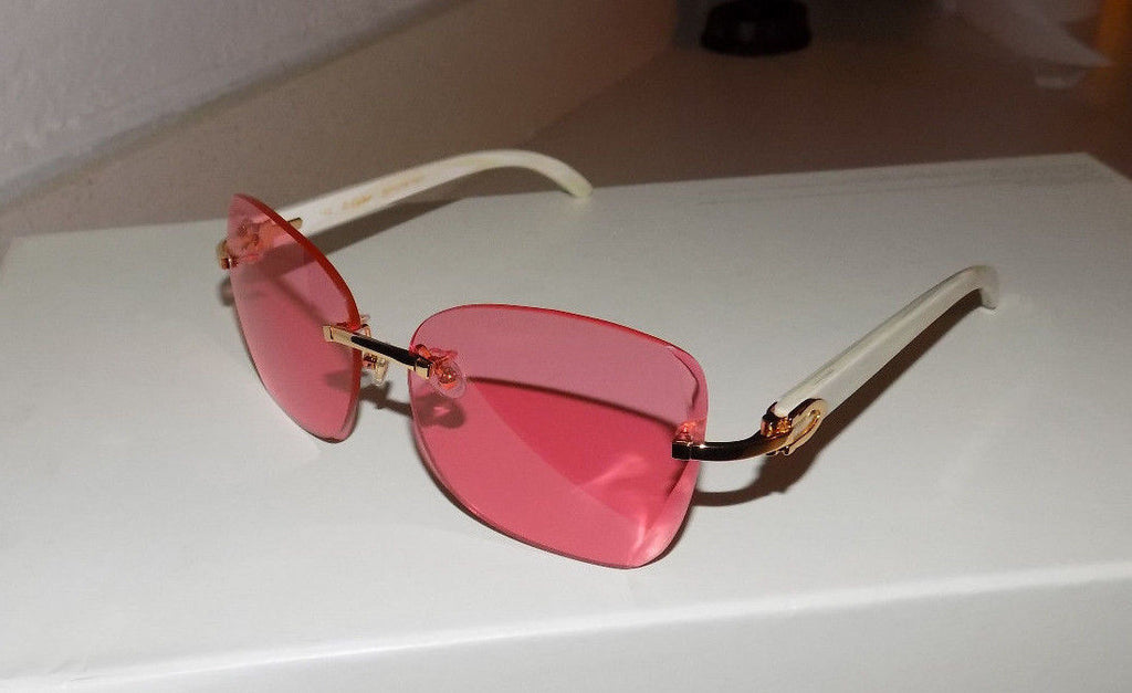 Limited Custom Cartier Smooth Coral Lens Cream Buffalo Horn Sunglasses