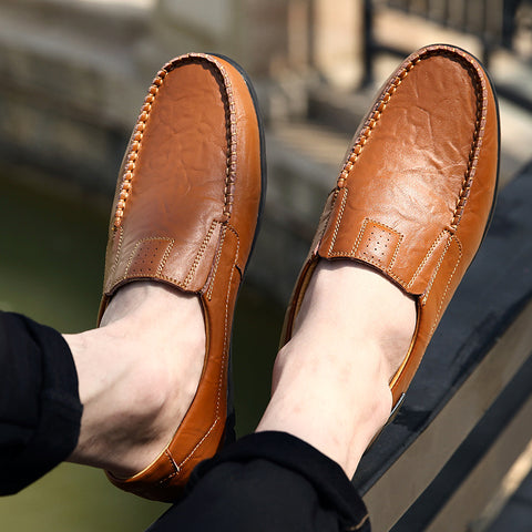 man with leather loafers
