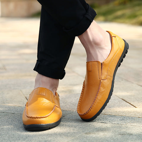 man with slip on leather loafers