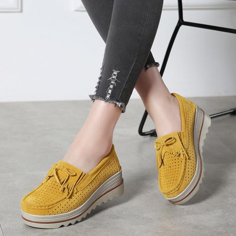 millennial woman with light loafer