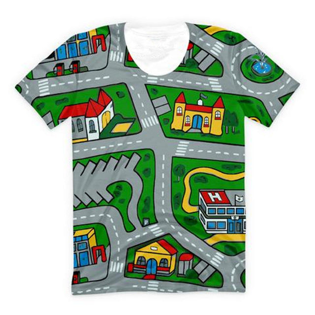 Carpet Track T-Shirt picturing Mats Baby Kids Rug CITY Carpet Car Play Mat Track car carpet city shirt