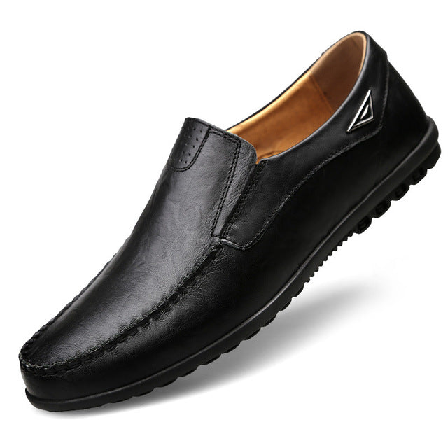 black slip on leather loafers