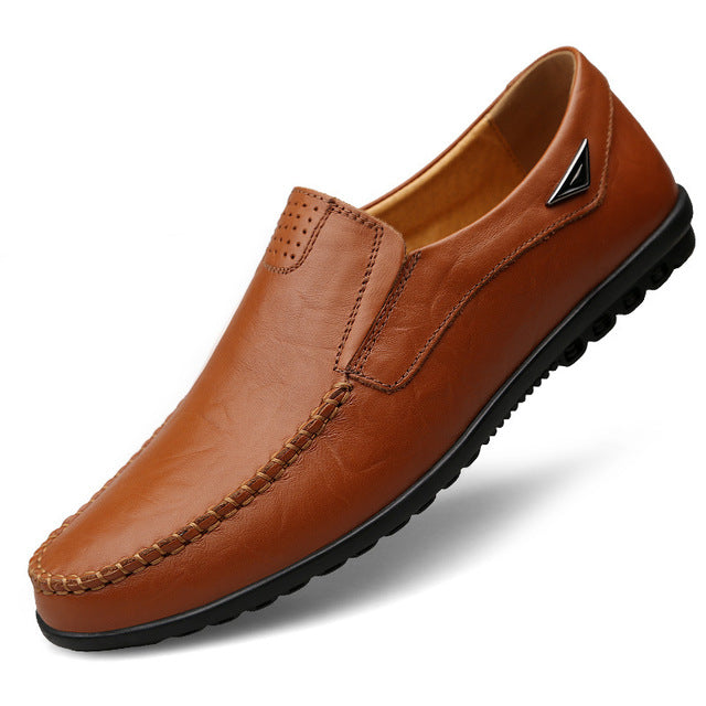 brown leather loafers driving shoes