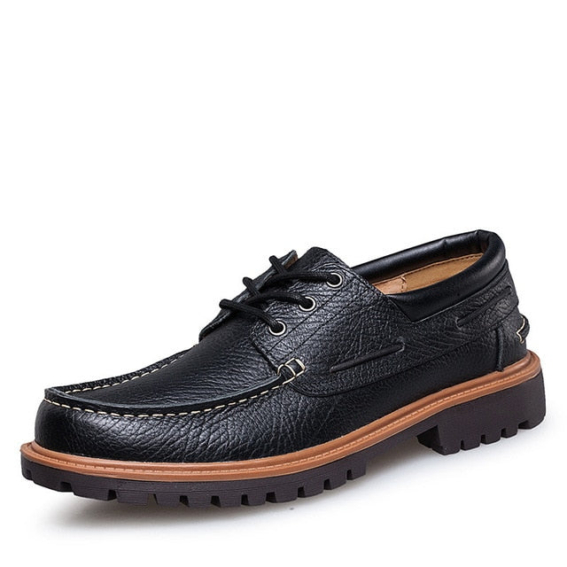 leather boat shoes with rubber sole