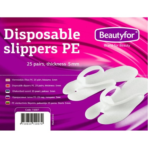 BF DISPOSABLE SLIPPERS PE, 25 pairs