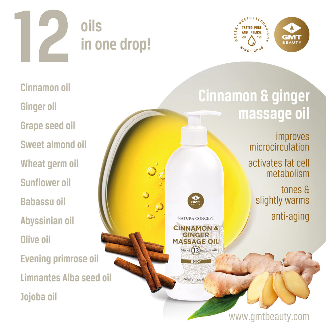 GMT CINNAMON & GINGER MASSAGE OIL 500ML