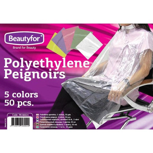 BF DISPOSABLE POLYETHYLENE PEIGNOIR, transparent