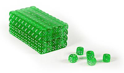 Set of 200 clear green translucent 16mm gaming dice