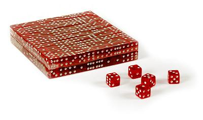 Set of 200 clear red translucent 16mm gaming dice
