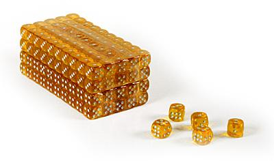 Set of 200 clear yellow translucent 16mm gaming dice