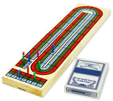 3-Track classic wooden Cribbage set w/deck of playing cards