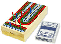 3-Track classic wooden Cribbage set w 1deck of playing cards