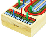 3-Track classic wooden Cribbage set w one deck of playing cards