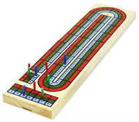 3-Track classic wooden Cribbage set with deck of playing cards