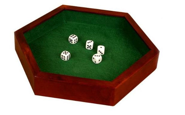 "12.5"" hexagonal dice tray with dice"