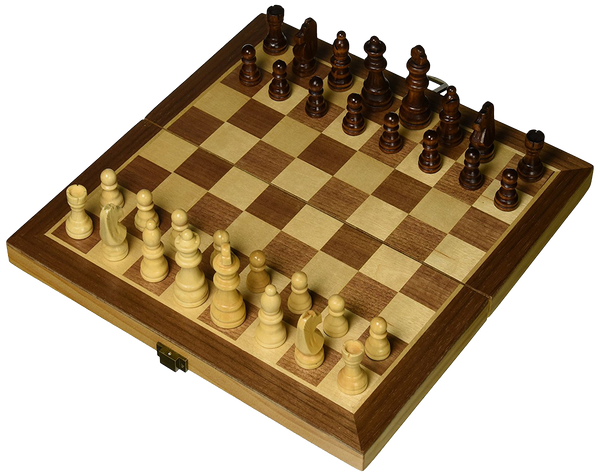"Folding 12"" Inlaid Wood Travel chess set with storage"
