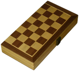 "Folding 12"" Inlaid Wood Travel chess set and storage"