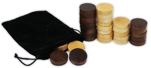 "Copy of Wooden Backgammon & Checkers Pieces, 30 Replacement Game Chips with Cloth Storage Bag - 1.25"" width"