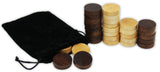 "Wooden Backgammon & Checkers Pieces, 30 Replacement Game Chips with Cloth Storage Bag - 1.5"" width"