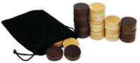 "Wooden Backgammon & Checkers Pieces, 30 Replacement Game Chips with Cloth Storage Bag - 1"" width"
