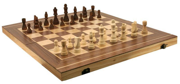 "Wooden 20"" 3-in-1 Chess, Checkers and Backgammon game set"