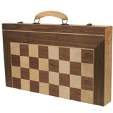 "Wooden 20"" 3-in-1 Chess, Checkers and Backgammon game"