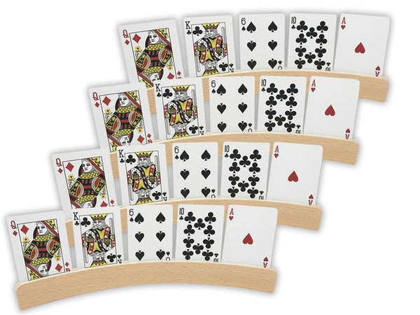 "Curved wooden playing card holders - 14"" Natural wood finish"
