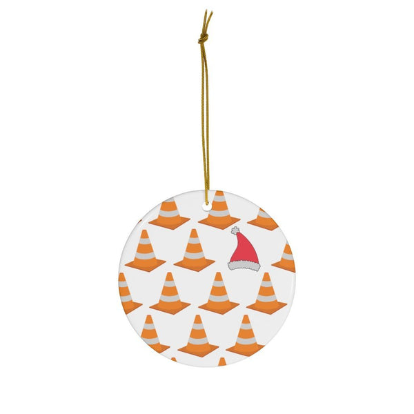 Safety Cone Santa Hat - Christmas Ornament