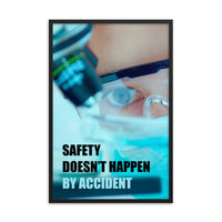 Safety poster of a close up of a woman's eyes wearing safety glasses inspecting a sample on a microscope with safety slogan written at the bottom.