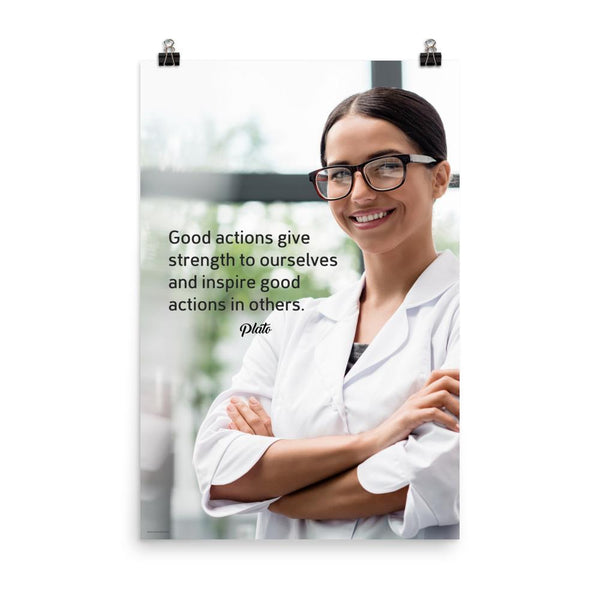 Safety poster showing a woman in a white lab coat and glasses smiling with arms crossed in a laboratory and a safety quote written to the left.