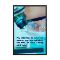Workplace safety poster of a close up of a woman's eyes wearing safety glasses inspecting a sample on a microscope with safety quote written at the bottom.