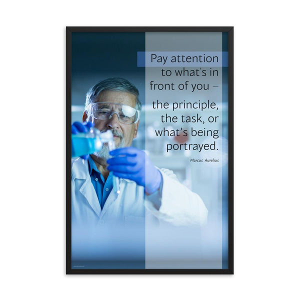 Safety poster showing an older man wearing a white lab coat, gloves, and safety glasses, working in a laboratory with a safety quote to his left.