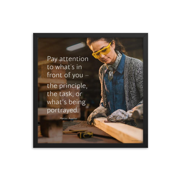 Workplace safety poster of a young female woodworker wearing safety glasses and gloves and sanding a two by four in her shop with a safety quote to the left.
