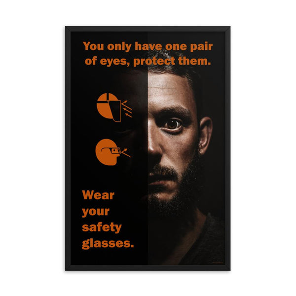 An eye safety poster of a close up of a mans face with his eyes wide open with text and PPE infographics covering his left eye.