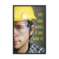 An eye safety poster showing a close up of half of a man's face wearing a yellow hard hat and safety goggles with a an eye safety slogan to the right.