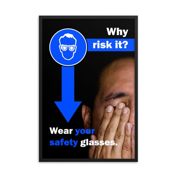 An eye safety poster of a close up of half of a man's face covering his eyes with his hands with safety slogans above him and to the left.