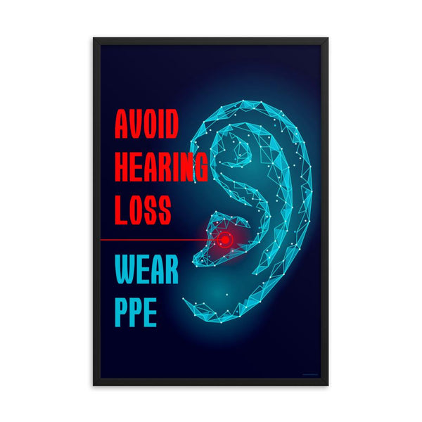 An ear safety poster depicting a geometric illustration of a glowing ear with a glowing red point inside the ear, as if it's been damaged, with a safety slogan to the left.