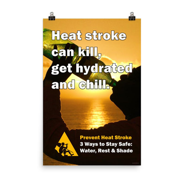 A heat stress safety poster of a person at sunset silhouetted and drinking water from a huge water bottle with text in the foreground.