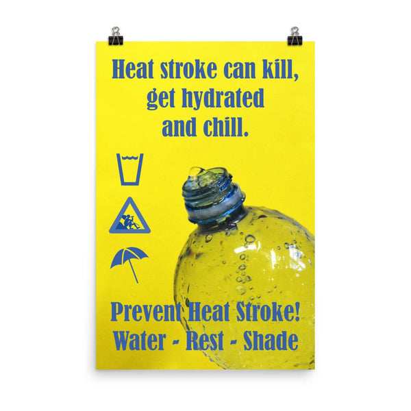A neon yellow heat stress safety poster with bright blue text and infographics all around a close up of an opening of a water bottle.